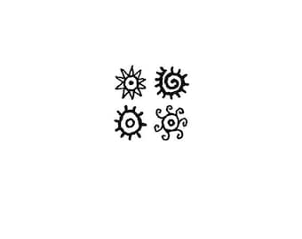 EZ Mounted Rubber Stamp Ethnic Sun Symbols Altered Art Craft Scrapbooking Cardmaking Collage Supply