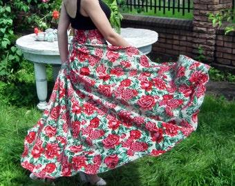 Maxi Skirt, Long Floral Skirt, Plus Size Skirt, High Low Skirt, Peplum Skirt, Floor Length Skirt, Bridesmaid Skirt