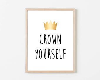 """Crown Yourself Printable Sign, Wild One Birthday, Wild, Where The Wild Things Are Birthday Party or Baby Shower, 8 x 10"""" Instant Download"""