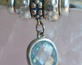 Sterling Silver Aqua Blue Zirconia European Charm Dangle Charm - Fits all European Charm Bracelets