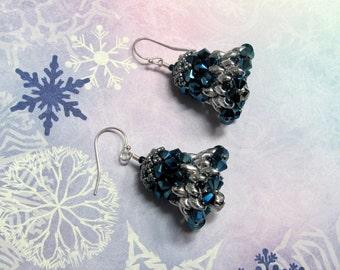 Christmas Bell Earrings, Christmas Earrings, Bell Earrings, Blue Earrings, Holiday Earrings, Dangle Earring, Christmas Jewelry, Bell Jewelry