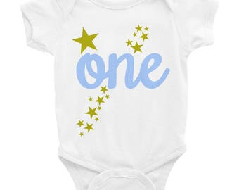 Twinkle Little Star Baby Boy First Birthday in Gold and Light Blue Infant Bodysuit Shirt