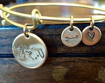 Custom State to State Bangle Bracelet GOLD - Choose Your States -Long distance relationship USA Bracelet State Bracelet girlfriend gift