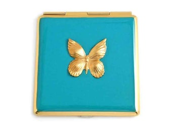 Square Compact Mirror Hand Painted Enamel Turquoise Enamel Inlaid with Brass Gold Butterfly Mirror Custom Colors and Personalized Options