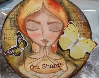 OM Shanti ORIGINAL art. Meditation pose. Eyes closed.