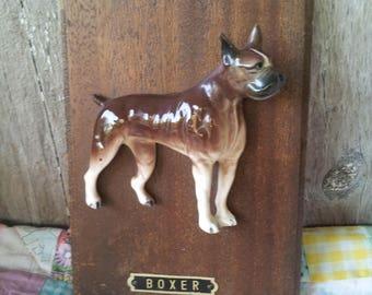 Vintage 3D Boxer Dog Ceramic Figurine wall Decoration