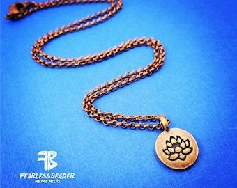 Copper Lotus Necklace, Zen Jewelry, Yoga Jewelry, Valentines Day, Lily Necklace, Yoga Necklace, Spiritual Jewelry, Meditation, Yogi Necklace
