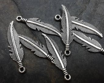 2.7 cm, set of 10 Feather charms, charms in silver, 27 x 7 mm