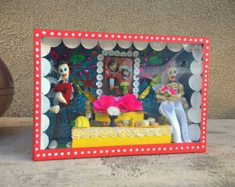 Mexican Shadowbox Day of the Dead Shrine Wedding Couple Wedding Gift, Altar Art