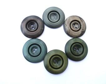 6 Vintage antique buttons unique earth color shades 33mm