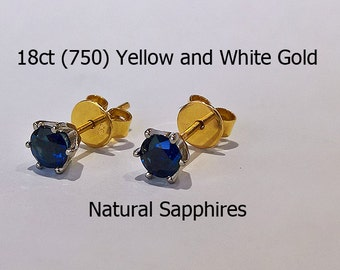 18ct 18K 750 Yellow and White Gold Gold Natural Sapphire Stud Earrings Jewellery