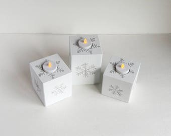 Snowflake Candle Holder, Rustic Candle Holder, Painted Candle Holder, White Candle Holder, Flameless Candle, Christmas Candles