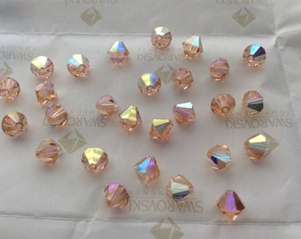 Swarovski #5301 Crystal Light Peach AB Bicone Faceted Beads 4mm 5mm 6mm 8mm