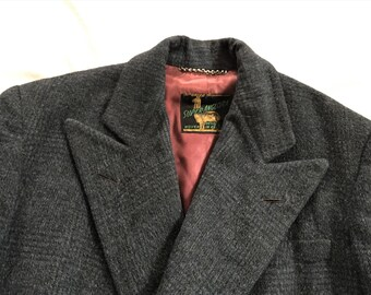 Vintage 50s 1942 Dated Lyon Tailors Dark Blue Plaid Double Breasted Alpaca Over Coat 38-40