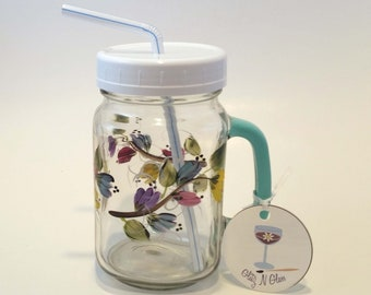 Hand Painted Mason Jar Pint Glass With Pastel Blooms on a Vine