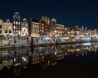 City lights, Amsterdam Canals by night, City travel print, Dutch Flower Market, Canal houses, Long exposure, Fine art photography print