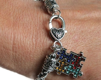 Autism Bracelet - Autism Awareness Bracelet is a great Mother's Day Gift for her, Autism Puzzle Bracelet, Autism, Aspergers Bracelet