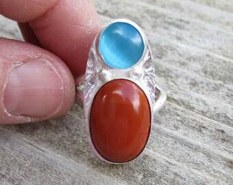 Indianische inspirierte rotem Jaspis und Katzen Auge Sterling 925er Silber Ring - Größe 7
