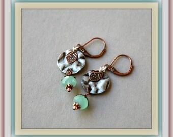 By the Sea Mixed Metal Earrings, Ocean Blue Earrings, Copper and Silver, Summer Earrings, Disc Earrings, Powder Blue, Dangling Earrings