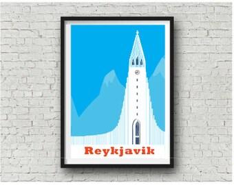 Iceland print, Reykjavik Hallgrímskirkja Art Print, Iceland design, A3 11x14