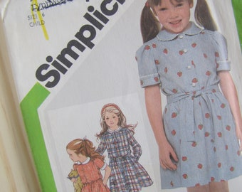 Uncut Simplicity 9988 Sewing Pattern  -  Child's Pullover Dress - Size 6