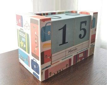 Perpetual Wooden Block Calendar - World Traveler - Vacation Suitcases and Valise - Travel Stamps - Wood Calendar Blocks