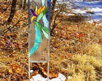 SET 2  stained glass GARDEN STAKES - Bird of Paradise and Blue bird