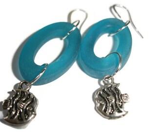 Fish Earrings Sea glass Fish Earrings Fish dangle nautical earrings ocean sea teal glass earrings Silver fish drops Sea glass earrings