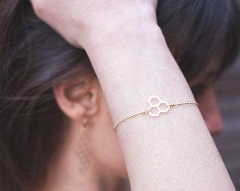 Matte gold honeycomb bracelet