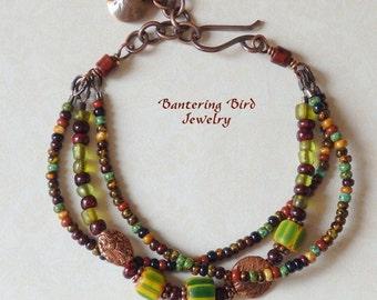 Boho Style Beaded Bracelet, Multi Strand Glass Seed Bead Gypsy Bracelet with Green Chevron, Copper Boho Jewelry