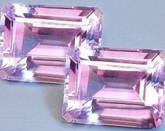 one - 8x6 emerald cut amethyst gem stone gemstone