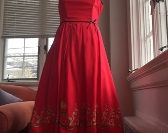 Red silk party dress
