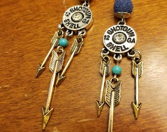 Essential Oil Earrings - Aromatherapy Earrings - Diffuser Earrings - Lava and Shotgun