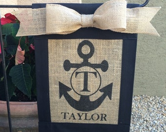 Custom, personalized, monogrammed burlap anchor garden flag