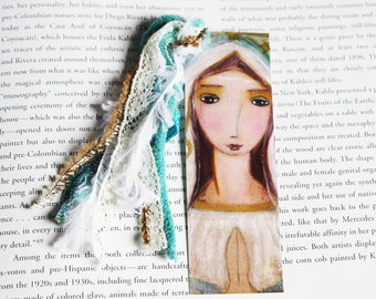 Our Lady of Lourdes - Laminated Bookmark  Handmade - Original Art by FLOR LARIOS
