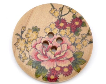 5 Floral (2) Painted Wood Button Four Hole Natural Wood Colour 30mm - 5 Pack NPB20
