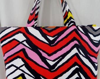 Extra Large Tote, Beach BAG, Zippered Diaper BAG,  Knitting BAG, Ikea Red, Black Chevron, Pool Bag
