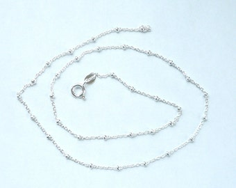"Sterling silver cable ball necklace chain , satellite chain, ball cable chain (16"", 18"", 20"", 24"" lenght options"