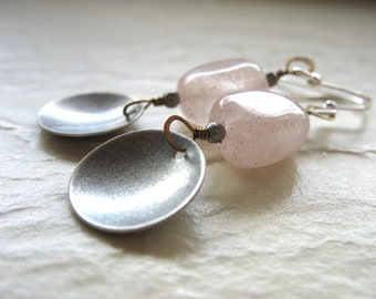 Rose Quartz Earrings, Rose Quartz Silver Earrings, Dangle Drop Earrings, Rose Quartz Jewelry, Metalwork Earrings, Mixed Metal Earrings
