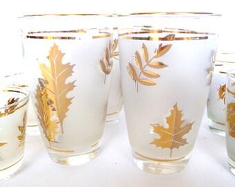 MAD MEN GLASSWARE/ Gold Leaf Frosted galsses/ Shot glasses/