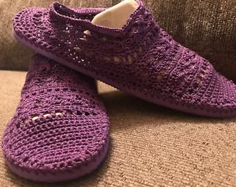 Slippers , Womens Slippers , Crochet Purple Slipper Shoes