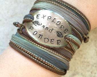 wrap bracelet, explore and ponder, boho bracelet, silk wrap, EXPLORE yoga wrap bracelet- PONDER- wanderlust jewelry, bohemian bracelet,