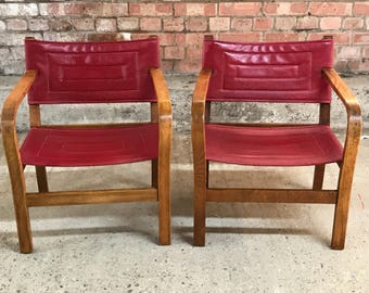 Pair of Vintage 1970's Danish Style Low Seated Chairs