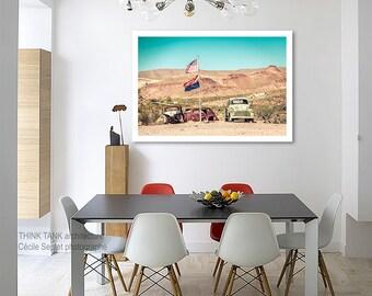 Route 66 decor Garage decor American flag american classic car on California route 66 arizona photography/large art/kids room art/men office