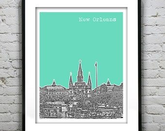 20% OFF Memorial Day Sale - New Orleans Skyline Poster Art Print French Quarter Jackson Square Louisiana  LA Version 12