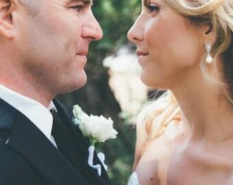 Drop Pearl Bridal Earrings, Crystal Pearl Wedding Earrings, Pearl Bridesmaid Earrings, Swarovski Pearls, Wedding Jewelry, Ava