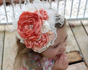Vintage Couture- Peach and Ivory Headband, Infant Headband, Toddler Headband, Newborn Headband, Bridal Headband, Flower Girl