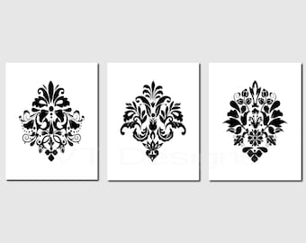 Black White Prints, Damask Print Set, Damask Designs, Bedroom Decor, Guest Room Decor, Neutral Decor, Bathroom Wall Art, Printable, Set of 3