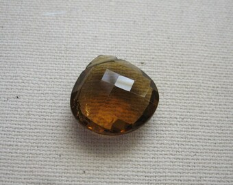 Large Cognac Quartz Bead Faceted Heart 17.25x17.25mm - Gemstone Focal Pendant