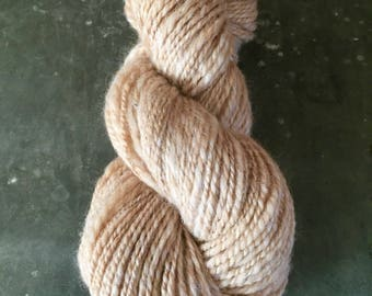 "Worsted Weight Handspun Yarn ""Fawn Alpaca Sparkle"""